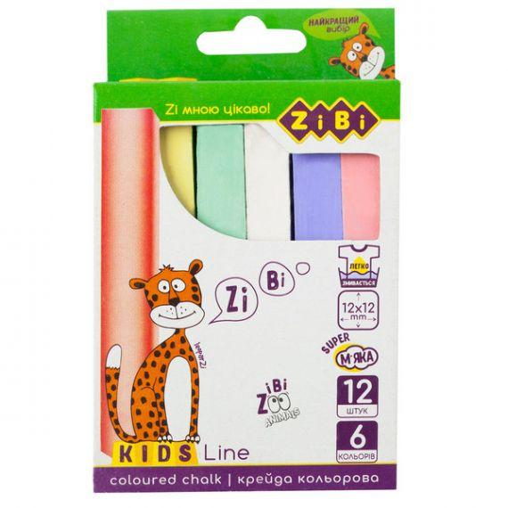 Крейда кольорова 12шт ZiBi KIDS Line квадратна