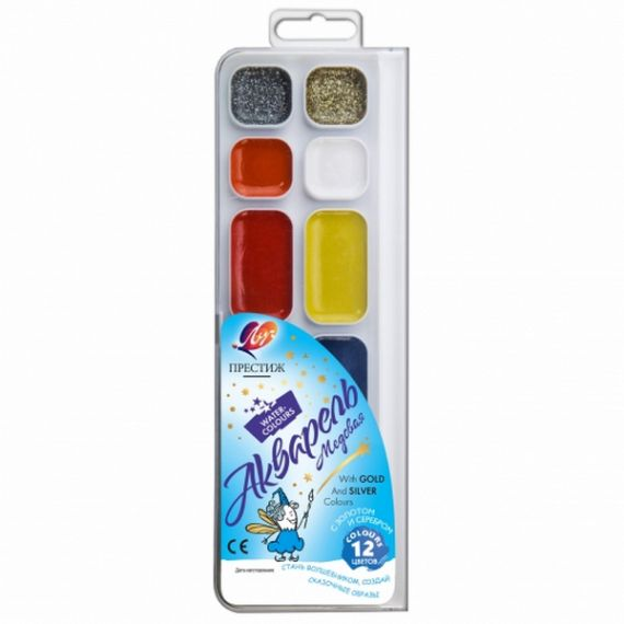 Акварель 12 кольорів Престиж Луч пластикова упаковка, без пензлика