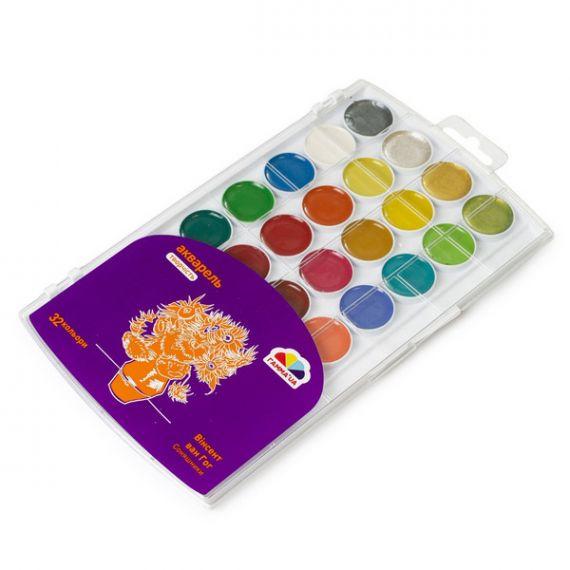Акварель 32 кольорів Творчість (28 стандарт+4 перламутр) Гамма UA Нововолинськ пластикова упаковка, без пензлика