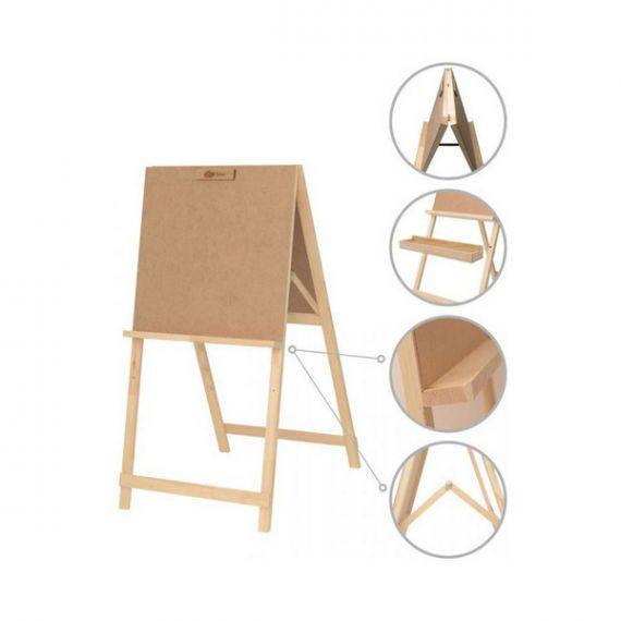Мольберт стаціонарний Хлопушка двосторонній, сосна 60х85х115 макс. висота полотна 53см ROSA Studio