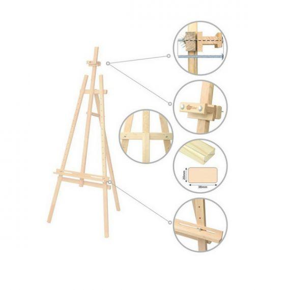 Мольберт стаціонарний Ліра дитяча, сосна 57х60х120 макс. висота полотна 87см ROSA Studio