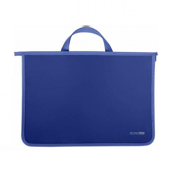 Портфель пластиковий А-4 2від. на блискавці, тканеві ручки, синій Economix