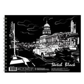 Альбом для малювання  А-5 120г чорний папір 30арк спіраль