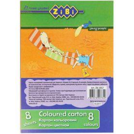 Картон кольоровий А-5 8 арк Zibi