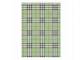 Блокнот А-5 48аркушів клітинка спіраль картонна обкладинка Шотландка зелений *BM