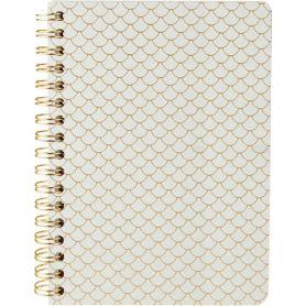 Блокнот А-6 80аркушів лінія, спіраль збоку, тверда обкладинка, кремовий папір, Scale білий