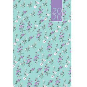 Щоденник датований Buromax Provence, тверда обкладинка, білий папір, квіти на бірюзовому