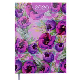 Щоденник датований Buromax Estilo, тверда обкладинка, білий папір, квіти на рожевому