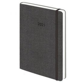 Щоденник датований Поліграфіст А-5 Tweed на гумці, білий папір, сірий