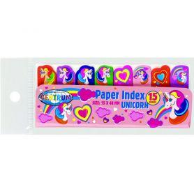 Індекси паперові клейкі 15х48 8кол по 15арк Єдиноріг Unicorns Сentrum
