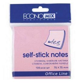 Папір для нотаток кл 75х75/100арк пастель рожевий Economix