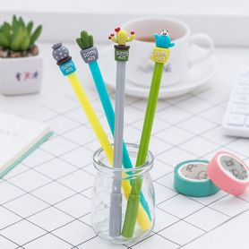 Ручка кулькова Кактус в чашці асорті синя
