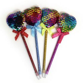 Ручка кулькова з паєтками Сердечко різнокольорове 25см, асорті, синя