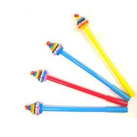 Ручка кулькова Тістечко асорті синя