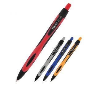 Ручка масляна Axent Polo автоматична прогумований корпус асорті синя