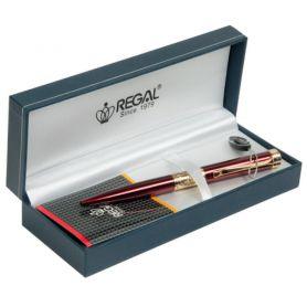 Ручка кулькова Regal бордова хром у подарунковому футлярі