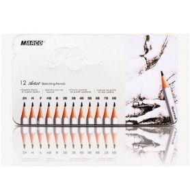 Набір олівців графітних Marco Raffine 12шт. 2Н-8В метал. коробка