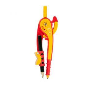 Циркуль 145мм у блістері, з тримачем для олівця червоно-помаранчевий ZiBi SMAR Line