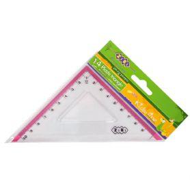 Трикутник пластиковий 45х45 10см прозорий з рожевою смужкою ZiBi