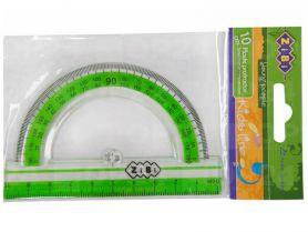 Транспортир пластиковий 180/10см прозорий з салатовою смужкою ZiBi
