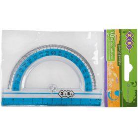 Транспортир пластиковий 180/10см прозорий з блакитною смужкою ZiBi