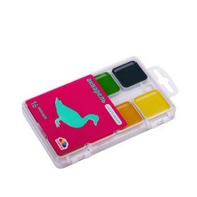 Акварель 16 кольорів Захоплення Гамма Нововолинськ 2-х ярусна пластикова упаковка, без пензлика