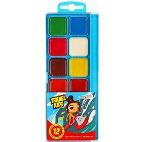 Акварель 12 кольорів Travel Kids WIG пластикова упаковка, без пензлика