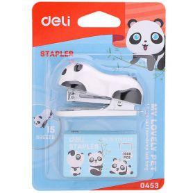 Степлер Deli №10 -12арк пластиковий міні + скоби Панда