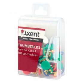 Кнопки 100шт кольорове пластикове покриття, пластиковий бокс Axent