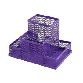 Підставка канцелярська металева сітка 4 відділення фіолетова ZiBi