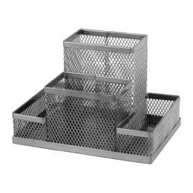 Підставка канцелярська металева сітка 4 відділення срібляста Axent