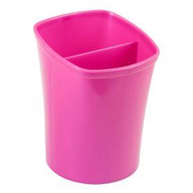 Стакан для ручок пластиковий 2 відділення рожевий ZiBi