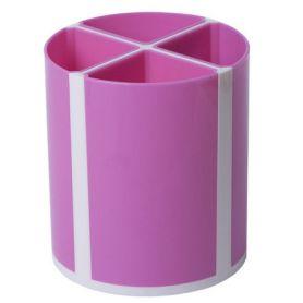 Стакан для ручок пластиковий 4 відділення рожевий ТвістерZiBi
