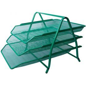 Лоток горизонтальний 3-х ярусний металевий сітка зелений Buromax
