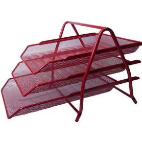 Лоток горизонтальний 3-х ярусний металевий сітка червоний Buromax