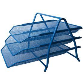 Лоток горизонтальний 3-х ярусний металевий сітка синій Buromax
