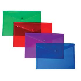 Папка пластикова А-4 на кнопці Economix Light прозора асорті