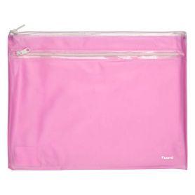 Папка пластикова А-4 на блискавці Axent 2 відділення прозора рожева