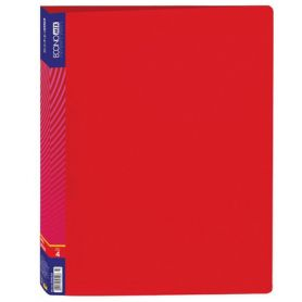Папка пластикова А-4 4 кільця 25мм 2 кишені Economix червона