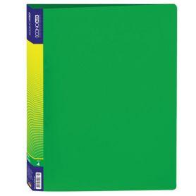 Папка пластикова А-4 4 кільця 25мм 2 кишені Economix зелена