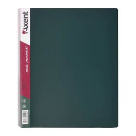 Папка пластикова А-4 4 кільця 35мм 2 кишені Axent зелена