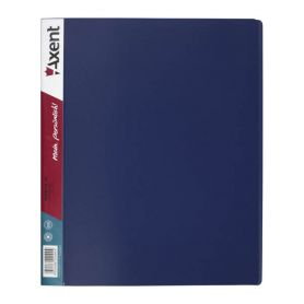 Папка пластикова А-4 4 кільця 35мм 2 кишені Axent синя