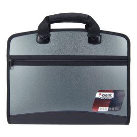 Портфель пластиковий А-4 4від. на блискавці, бокова кишеня, сірий металік Axent