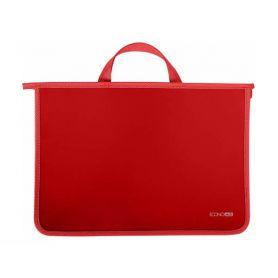 Портфель пластиковий А-4 2від. на блискавці, тканеві ручки, червоний Economix