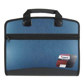 Портфель пластиковий А-4 4 від. на блискавці, бокова кишеня, синій металік Axent
