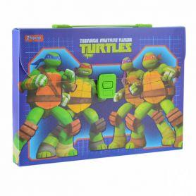 Портфель пластиковий А-4 1від. пластиковий замок Ninja Turtles 1Вересня