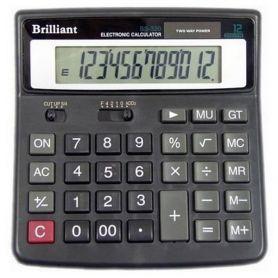 Калькулятор Brilliant 12р. бухг. 2ел.живлення, однорівнева пам'ять,155х155х35мм