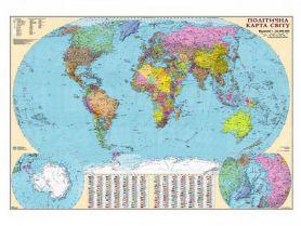 Карта Світу Політична М1:22 000 000 160х110см картон/лак/планки
