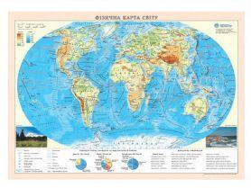 Карта Світу Фізична М1:55 000 000 А-2 65х45см картон