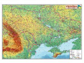 Карта України фізична М1:1 250 000 110х77см картон